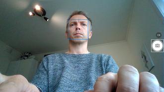 Lite flatterende: Slik ser du altså ut når du videochatter med noen via det innebygde kameraet.