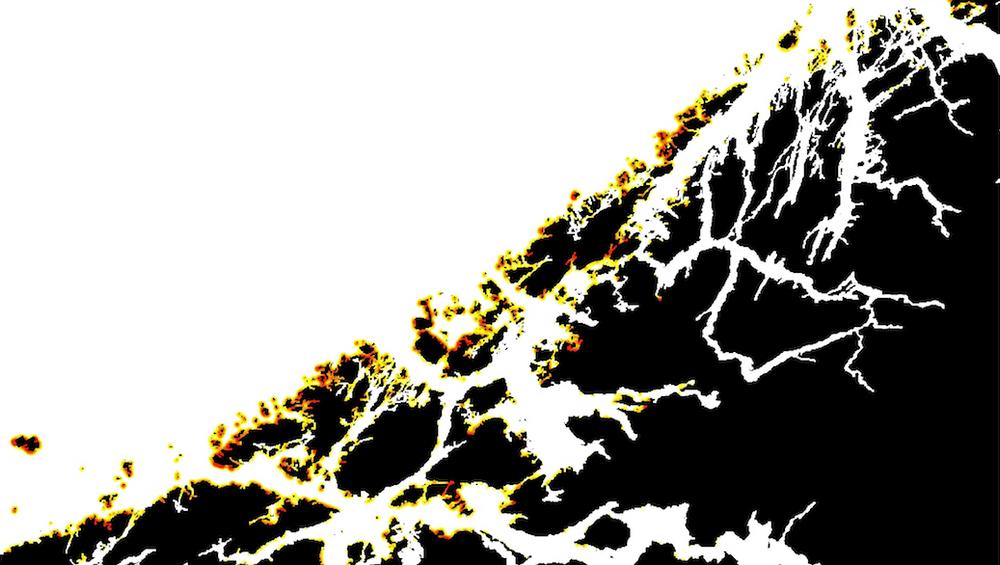 Kartet viser hot spots for stranding av plast langs norskekysten. Dette er et utsnitt over Hordaland.