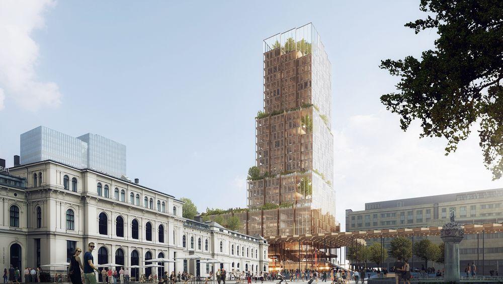 Illustrasjon av det nye høyhuset, som vil stå ved siden av Østbanehallen (til venstre).