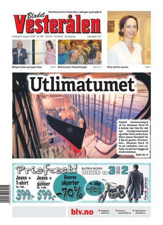 Slik så forsiden på Bladet Vesterålen ut fredag.