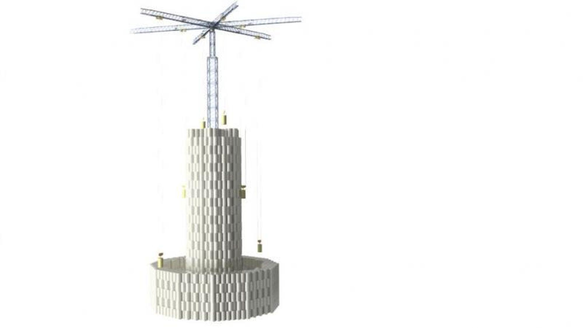 Det tok bedriften ni måneder fra idé til ferdig prototyp, og det kostet mindre enn 2 millioner dollar. Kranen er 20 meter høy, og har bare én arm, mens betongblokkene veier 500 kilo hver.