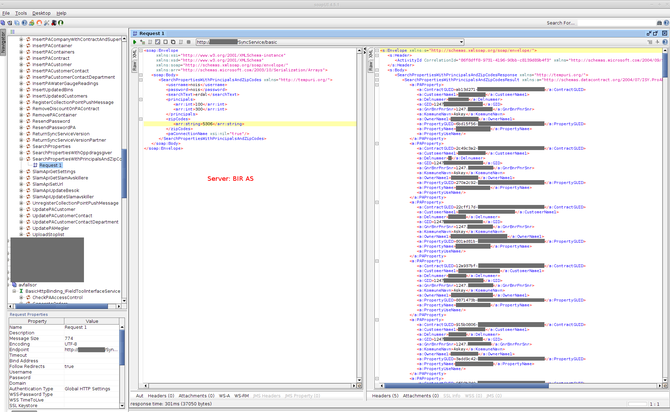 Eksempel på data som var tilgjengelige bak et standardpassord og via en ukryptert forbindelse.