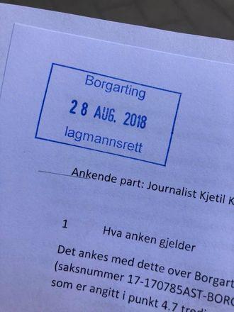 Kjetil Kolsruds anke - med stempel fra Borgarting lagmannsrett.