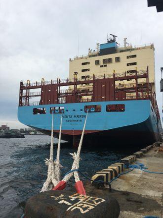 Venta Maersk ved kai før seilasen gjennom Nordøstpassasjen i september 2018.