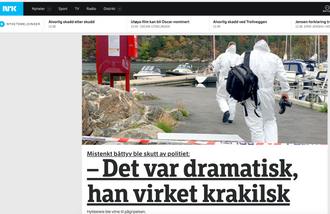 Faksimile fra NRK.no under hendelsen med politiet.