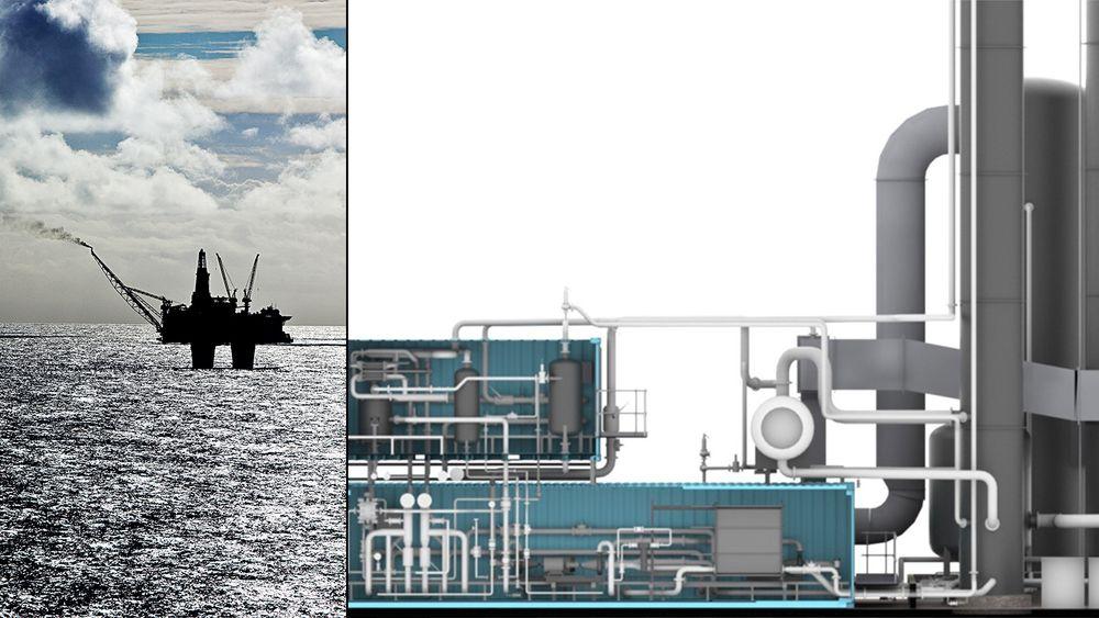 Det modulære og standardiserte CO2-fangstanlegget til Aker Solutions skal kunne rense 100.000 tonn CO2 i året. Nå ser de på muligheten for å installere det offshore, til å rense CO2 fra gassturbiner på oljeplattformer.