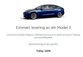 Model 3 hevdes å bli levert tidlig neste år.