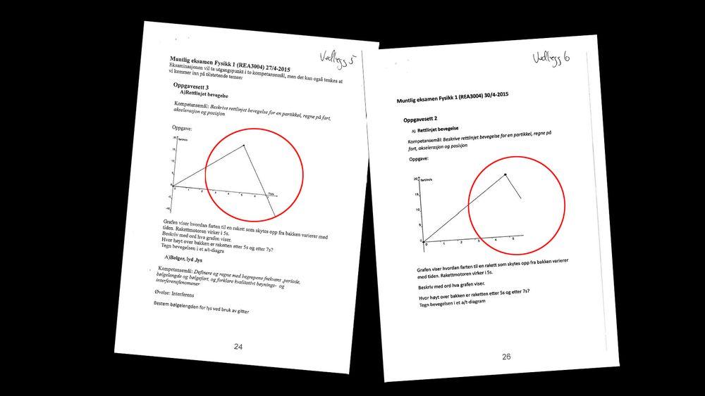 Torkel Thune Fladstad skulle fått eksamensoppgaven i Fysikk til venstre, men fikk oppgave til høyre, der deler av grafen manglet.