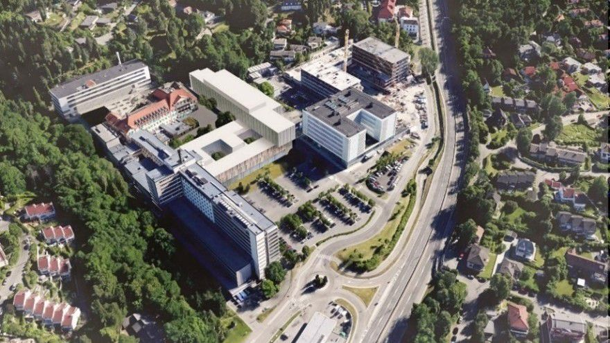 Skisse av nytt klinikkbygg Radiumhospitalet.