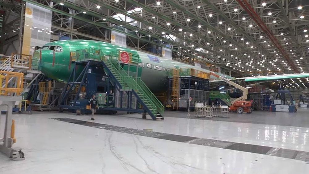 Dette er flyet som nå brukes til statisk testing på Boeing-fabikken i Everett nord for Seattle i Washington.