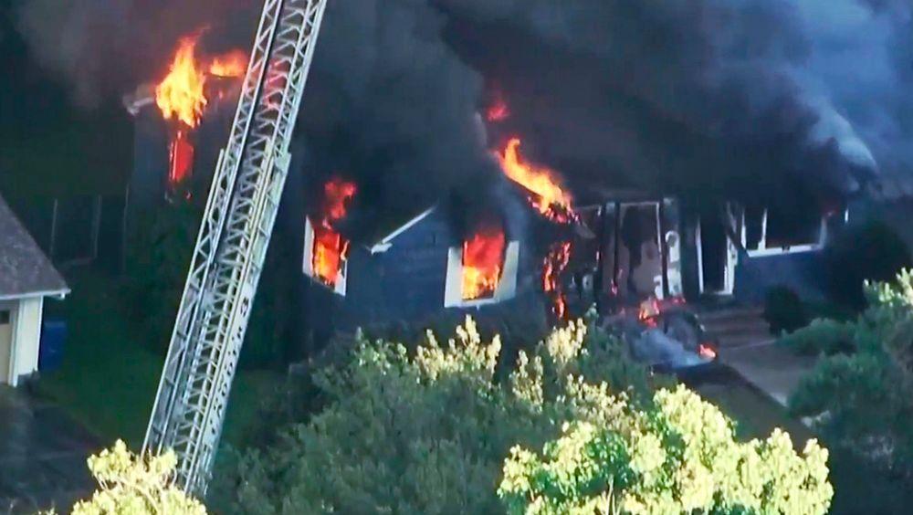 En av de 39 brannene som ble forårsaket av de 70 gasseksplosjonene som rammet Bostons forsteder.