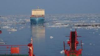 Venta Maersk - containerskip - gjennom Sannikov-stredet 11. september, fotografert fra Rosatom-isbryteren 50 Let Pobpedy. Nordøstpassasjen.