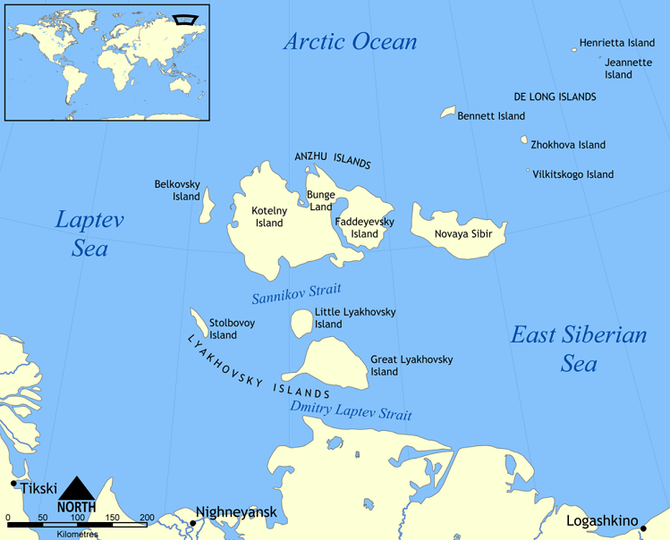 Kartet viser deler av Nordøstpassasjen. Containerskipet Venta Maersk seilte gjennom Sannikovstredet med isbrytereskorte 11. september 2018.