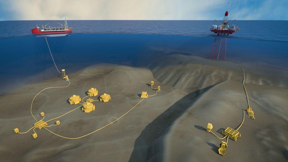 Denne illustrasjonen er en skisse for å vise subsea tieback med et subsea oljelagringssystem og en automatisert piggestasjonen for rensing av rørledninger.