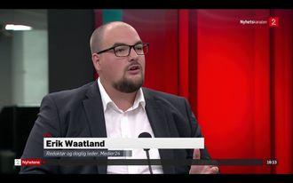 Redaktør og daglig leder Erik Waatland i Medier24 stilte til «debatt» i Nyhetskanalen tirsdag. Det gjorde ikke TV 2-ledelsen.