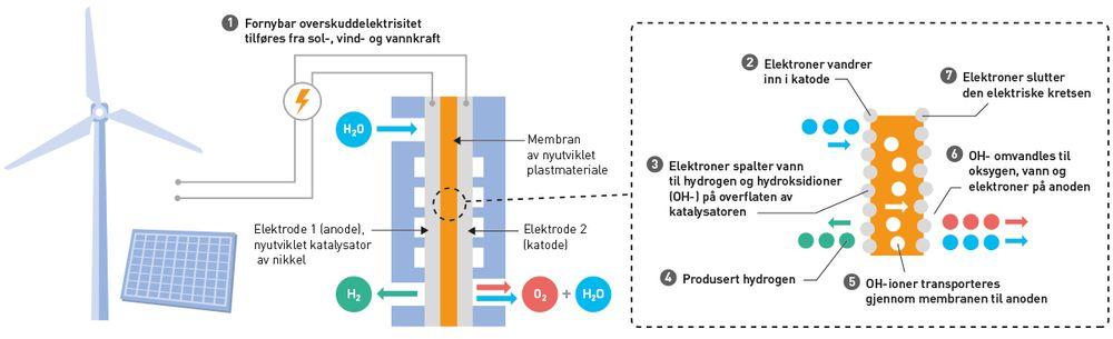 Teknologien: Slik vil vann bli splittet til hydrogen og oksygen i elektrolyseceller basert på AEM-teknologi (anion exchange membranes). Produsert hydrogen kan brukes i transport og industri. Produsert oksygen kan benyttes i industri, deriblant i oppdrettsnæringen, mens produsert vann resirkuleres og føres tilbake til elektrolysecellene.