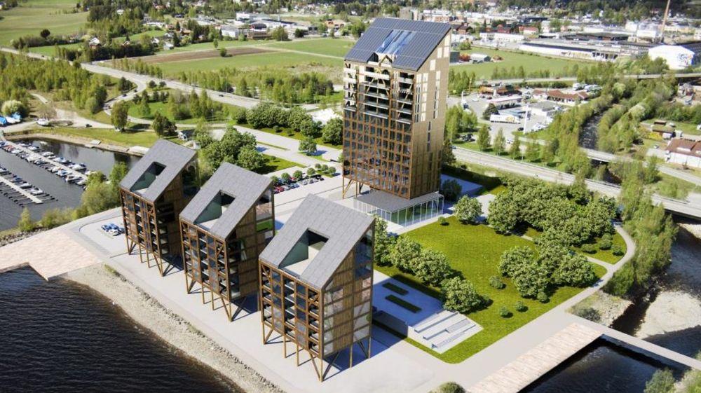 Utbygger AB Invest har opsjon på tre bygg på inntil sju etasjer i tillegg til tårnet, som her ser noe annerledes ut enn på de siste tegningene. Dersom alt utnyttes, vil den samlede bygningsmassen utgjøre 38.000 kvadratmeter.