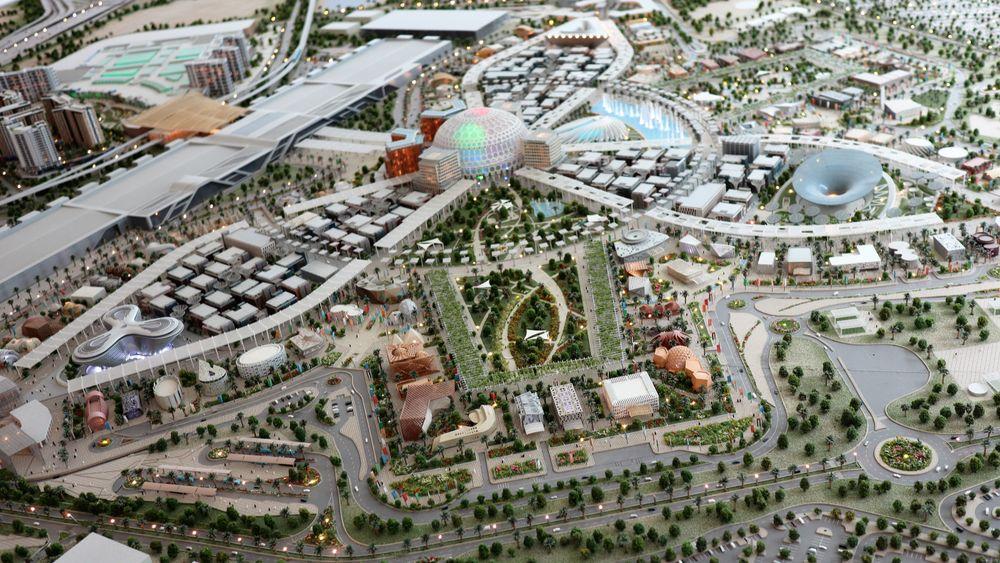I den øverste vingen av modellen for Expo 2020 i Dubai vil Norges paviljong ligge.
