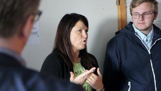 Finansminister Siv Jensen (Frp) på besøk i Breivika barnehage i Bodø.