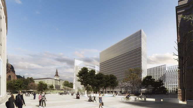 """Tegninger av """"Adapt"""", konseptet som vant Statsbyggs designkonkurranse for nytt regjeringskvartal."""