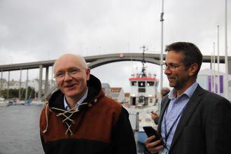 Førsteamanuensis Egil Eide og administrerende direktør Tom Eystø i Massterly i Haugesund.