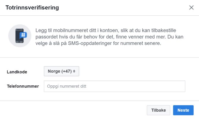 Dialogboks for aktivering av totrinnsverifisering.