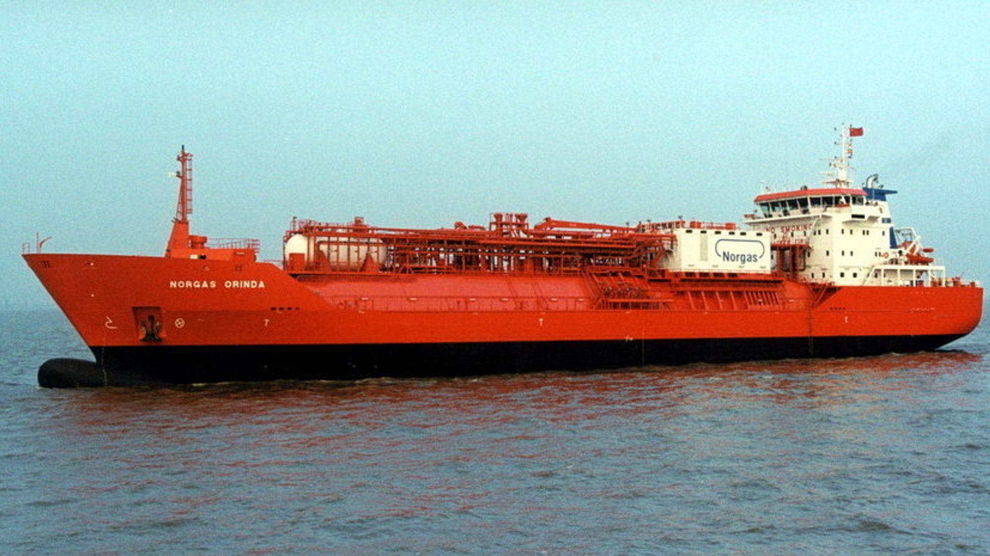 Norgas Orinda er ett av seks skipene som er omfattet av tvisten. Skipet fikk hovedmotor fra tyske MAN.