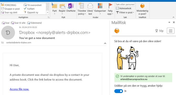 MailRisk-produktet til Secure Practice skal gi brukerne en rask måte å finne ut om eposten de har mottatt, utgjør noen fare.