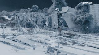 Se hvordan filmskaperne bak «Skjelvet» brukte byggemodellen fra Barcode til å rasere Bjørvika