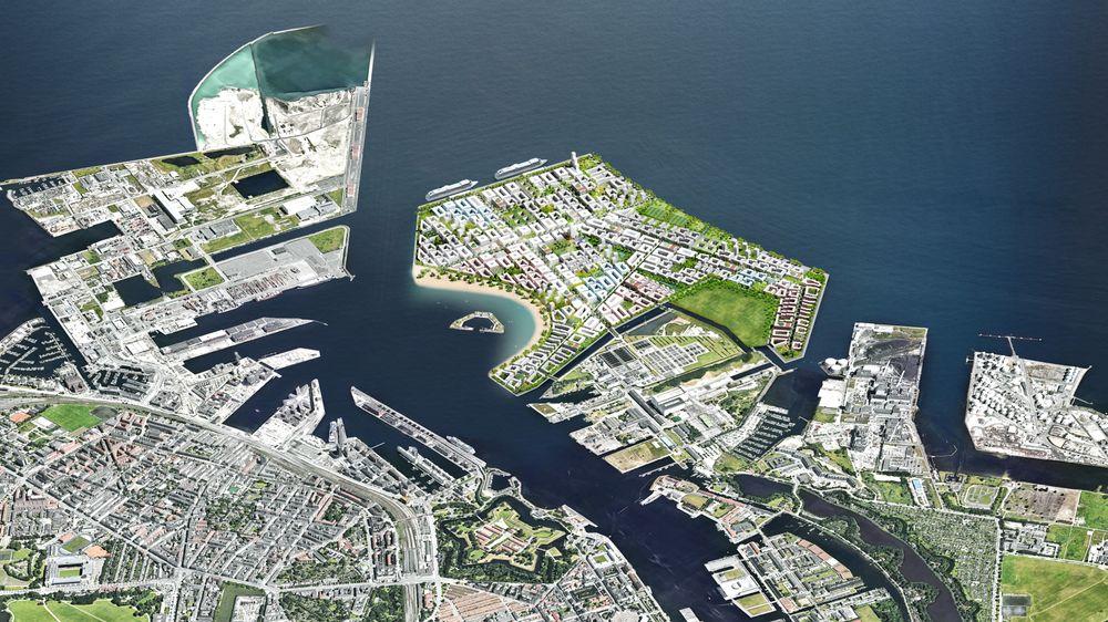 Den nye øya, Lynetteholmen, skal i likhet med Nordhavn hentes inn ved å demme inn området og fylle det opp med overskuddsjord fra ulike byggeprosjekter. Anleggsprosjektet er omtrent dobbelt så stort som Nordhavn i København.