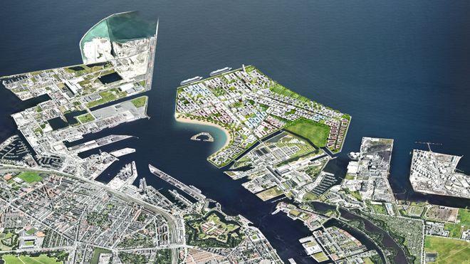 København vil bygge en 2000 mål stor øy. Tomtesalget skal finansiere havnetunnel og bybane