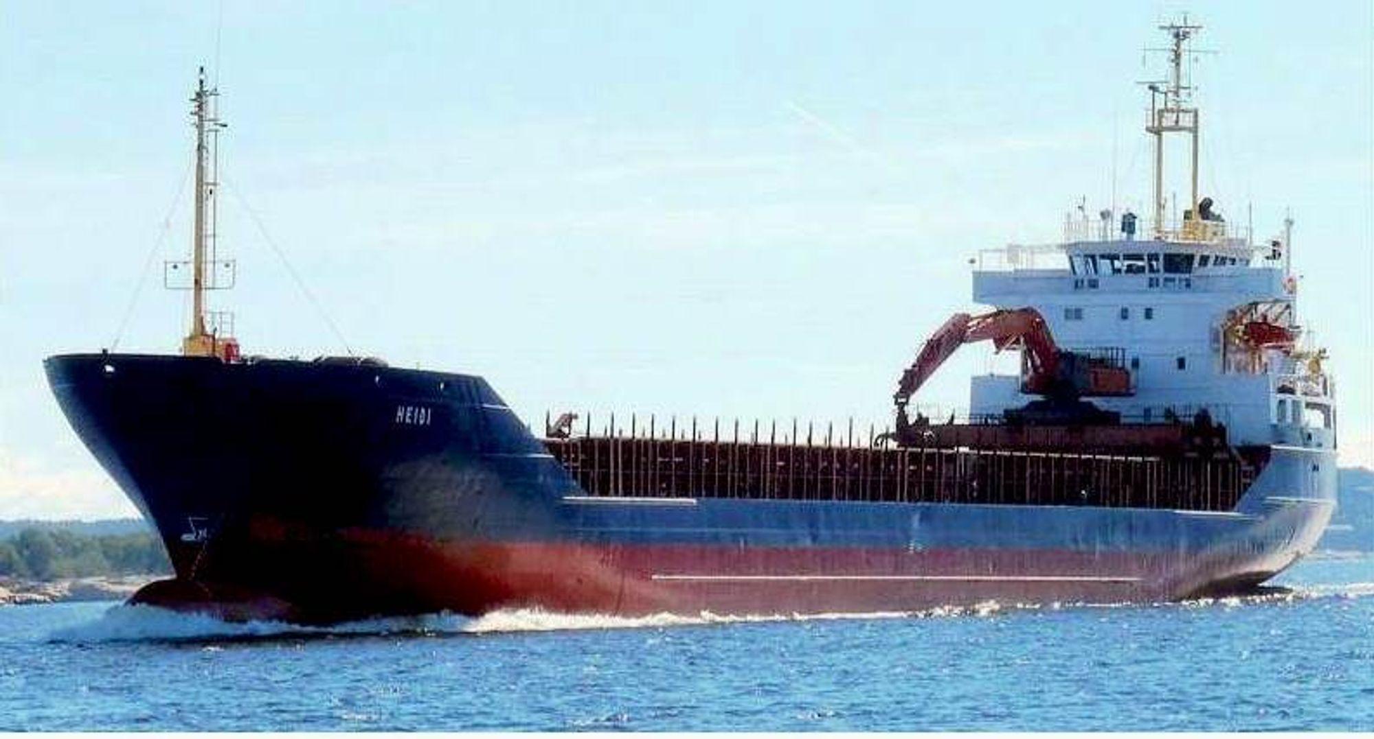 MV Heidi er bygget i 1979 i Tyskland. Det 39 år gamle lasteskipet er altså i den eldre del av den norske nærskipsflåten.