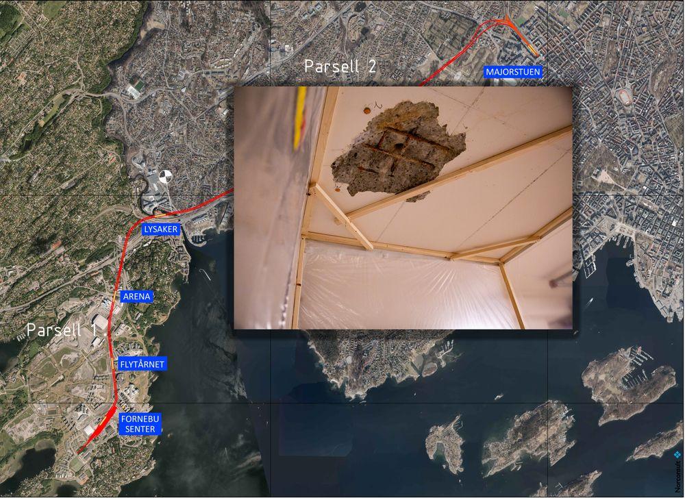 Oslo Kommune brukte kart som ikke var oppdaterte da de skulle bore i forprosjektet for Fornebubanen. Det resulterte i at de boret hull i privat garasjeanlegg.