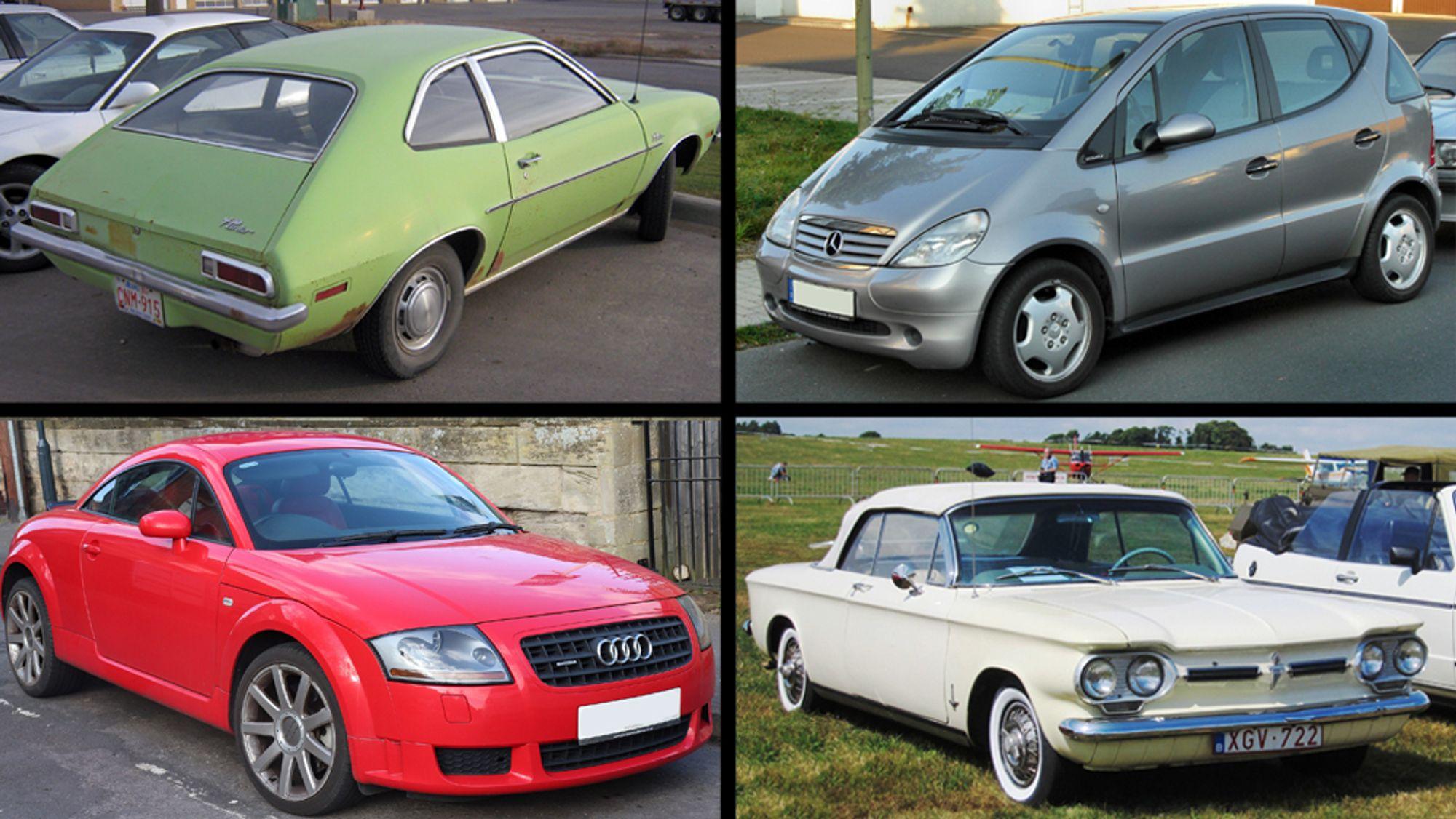 Øverst fra høyre: Ford Pinto, Merchedes A-klasse. Nederst fra venstre: Audi TT, Chevrolet Corvair.