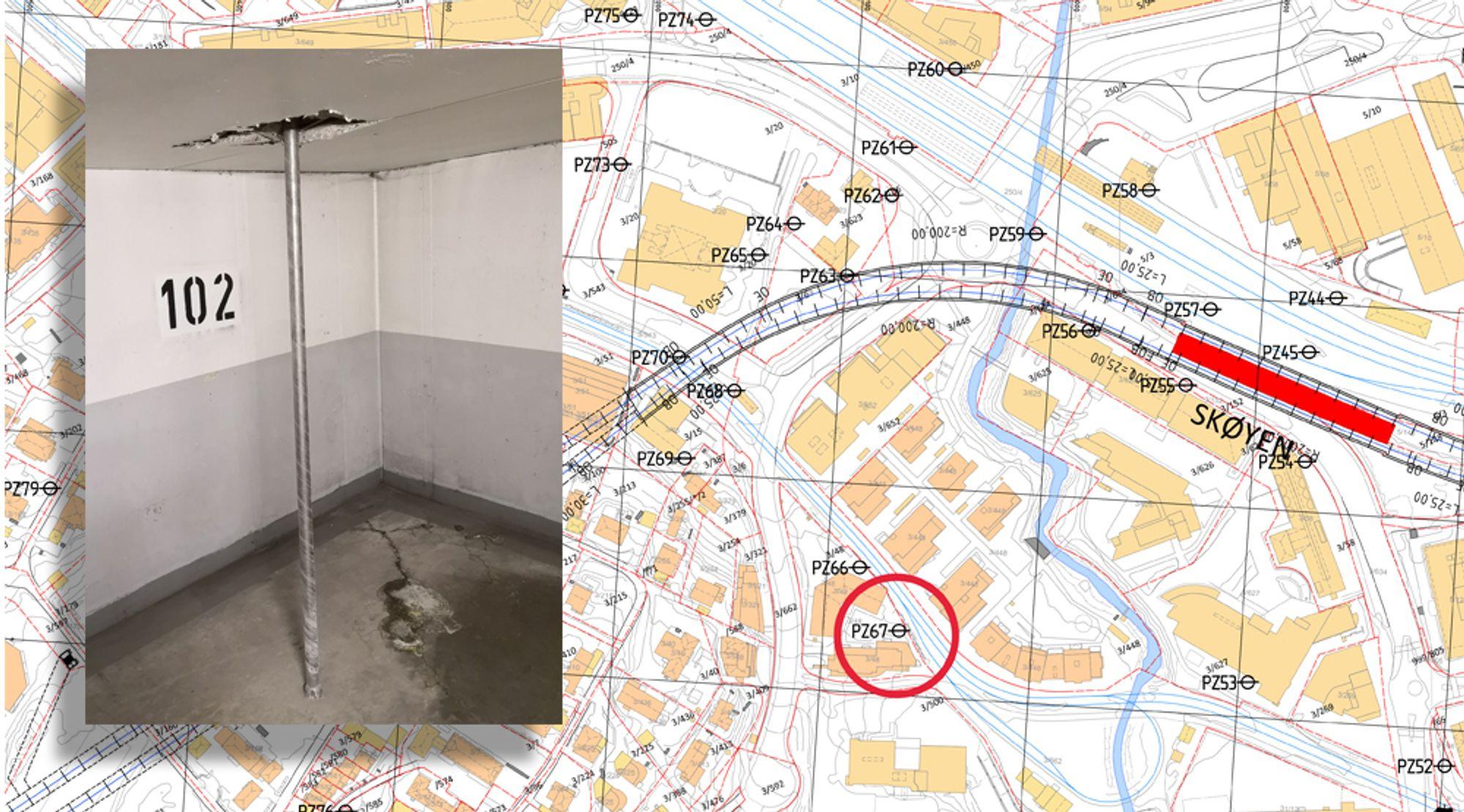 Boreplanen viser hvor Fornebubanen borer i forbindelse med forundersøkelser for banen. Boreentreprenøren Romerrike Grunnboring boret ned i et garasjeanlegg på Skøyen.