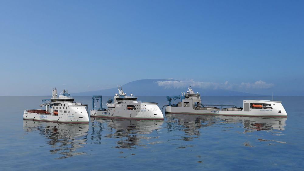 Slik ser det Florida-basert selskapet Aeolus Energy for seg at deres nye havvindflåte skal se ut.