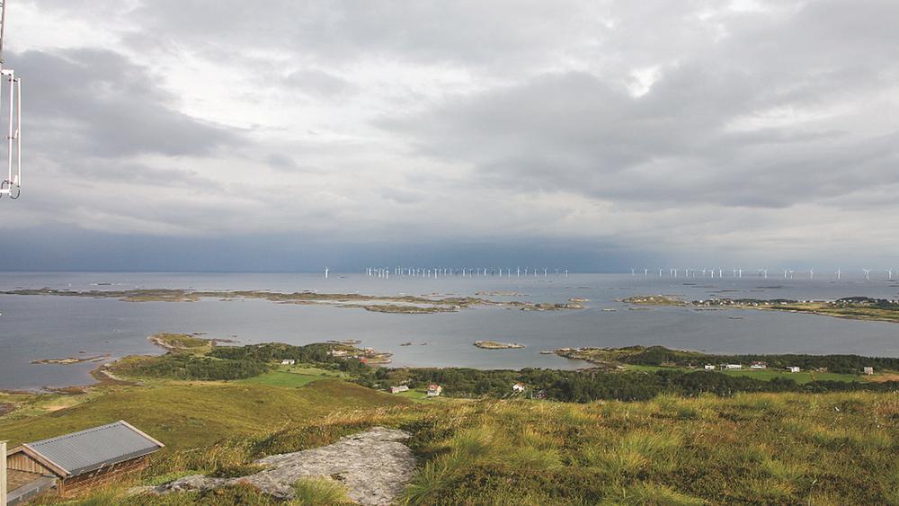 Illustrasjon av vindparken Havsul 1, som etter planen skal ligge fem kilometer utenfor Harøya i Sandøy kommune.