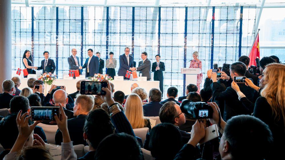 Kongsberg Gruppen, DNV GL og Jotun og flere andre norske selskaper signerte torsdag elleve nye kontrakter med kinesiske selskap i Shanghai. Dette skjedde under næringslivsseminaret «An Ocean of Opportunities Norway-China Business Summit» i Shanghai.