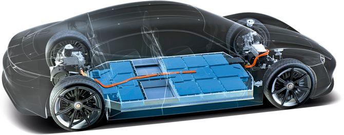 Batteriet er plassert i dørken, mellom akslingene.