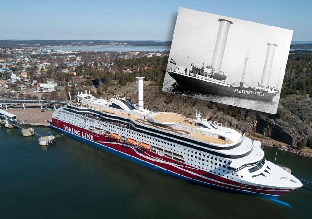 Passasjer- og bilfergen Viking Grace har LNG-motorer og rotorseil for å minske utslipp. Andreas Flettner monterte rotorseil på MV Buckau i 1924.