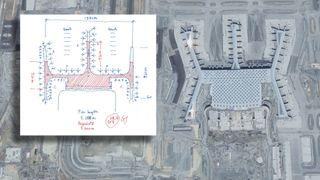 Gudmund Stokke tegnet det som kan bli verdens største flyplass. Kladden laget han på flyturen til første byggemøte