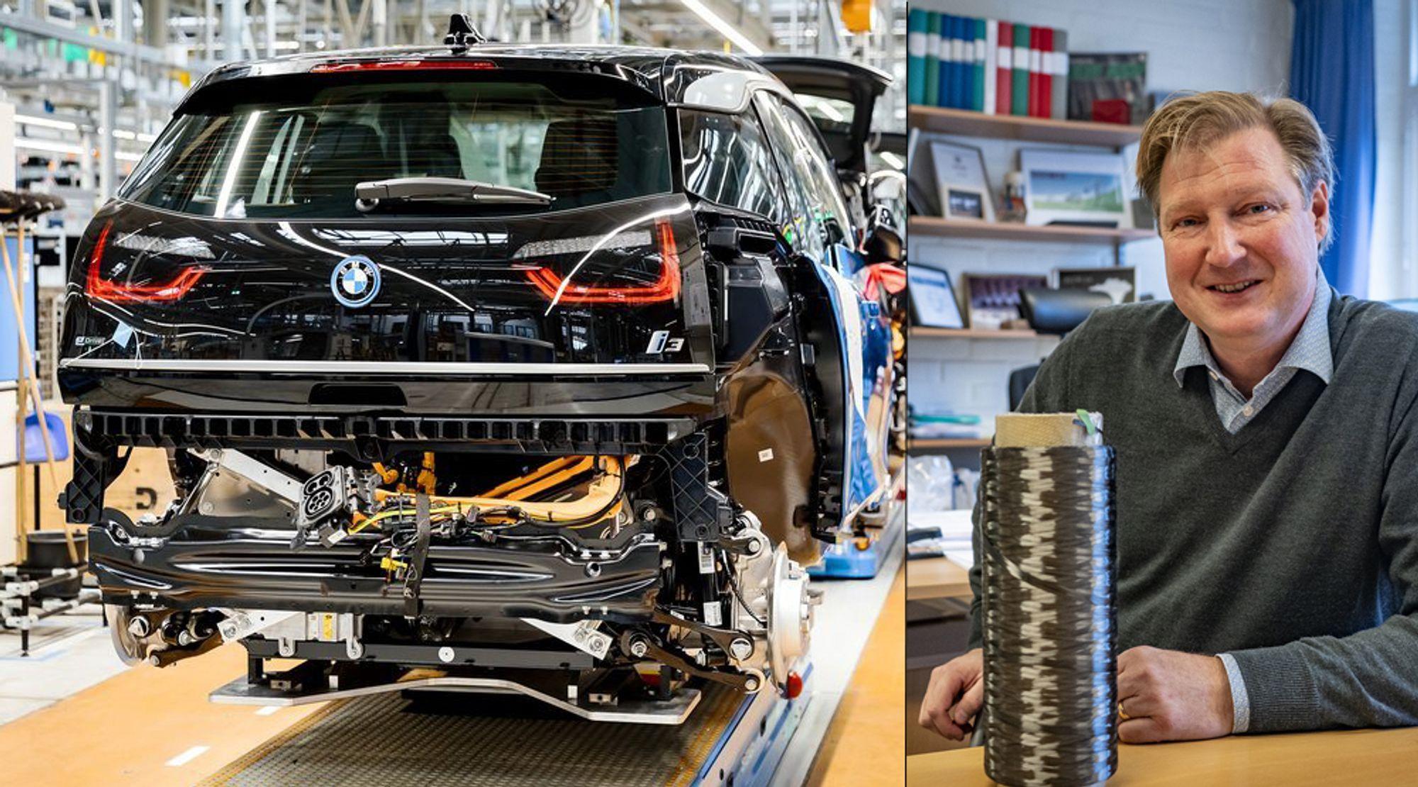 Tenker helt nytt: Professor ved avdeling for material- og beregningsmekanikk ved Chalmers i Göteborg, Leif Asp har tenkt helt nytt rundt måten vi bygger kjøretøyer. Til venstre henger en BMW i3 under produksjon.
