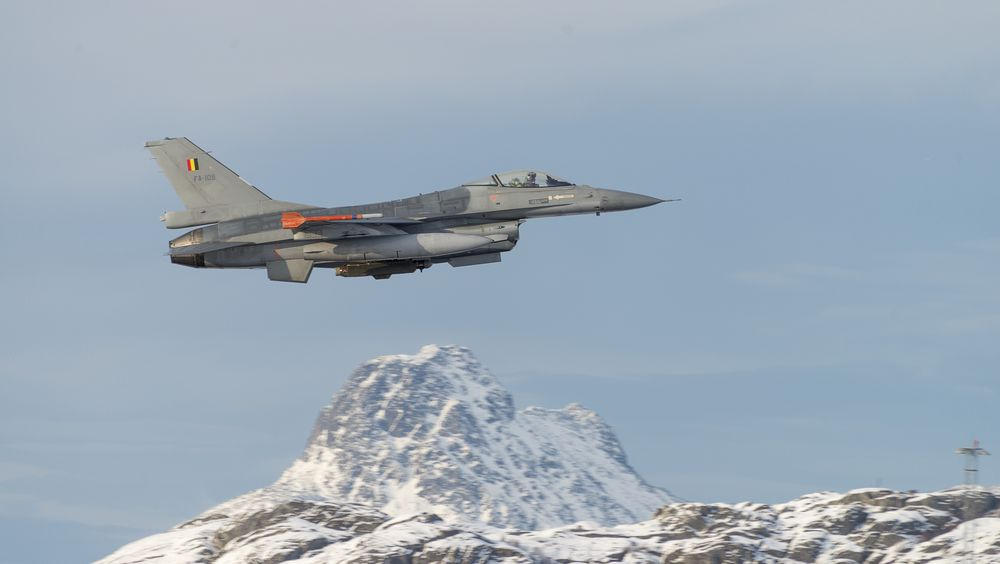 Et belgisk F-16 tar av fra Bodø luftforsvarsbase i forbindelse med Cold Response i 2016.  A belgian F-16 fighter taking off from Bodø main air station. The belgian fighters are staying in Bodø for the duration of exercise Cold Response.