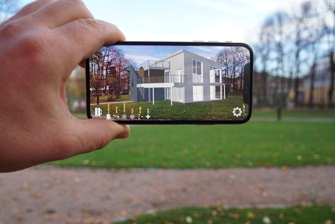 Eksempel på hvordan et hus fra Mesterhus kan presenteres i Holopipe-appen.