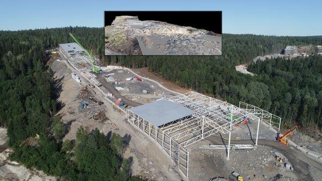 Bygger Norges første innendørs skihall i ulendt terreng: Beregner massene ved hjelp av droner