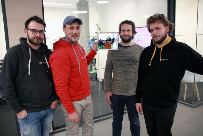Hos Pointmedia møtte vi (fra venstre) AR/VR-sjefutvikler  Pål Hieronimus Aamodt, grunnlegger og AR/VR-produsent Jo Jørgen Stordal, backendutvikler Christian Schlosser og teknologidirektør Anders Horne.