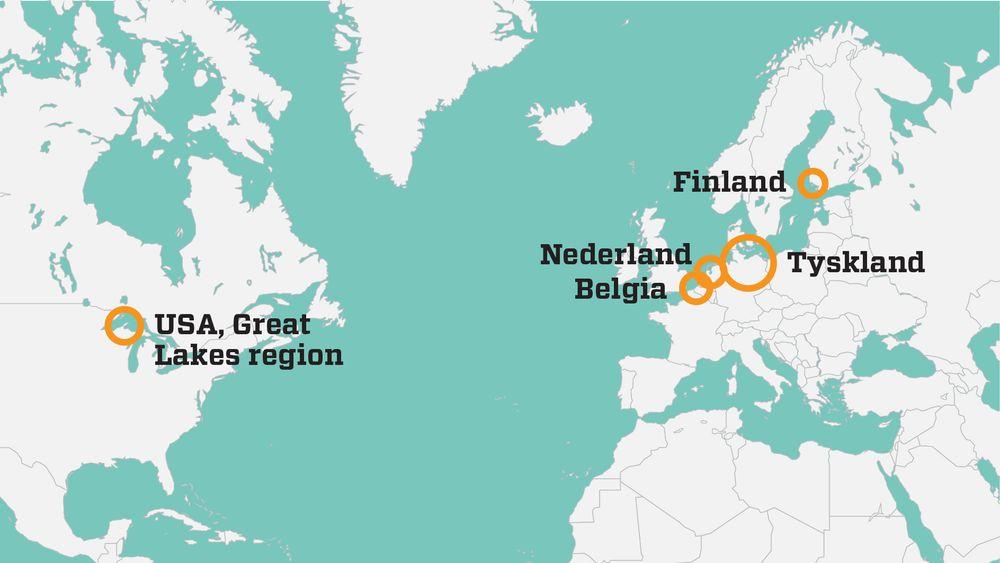 Utenfor Norge er det fem testområder for autonome skip ved inngangen til november 2018.
