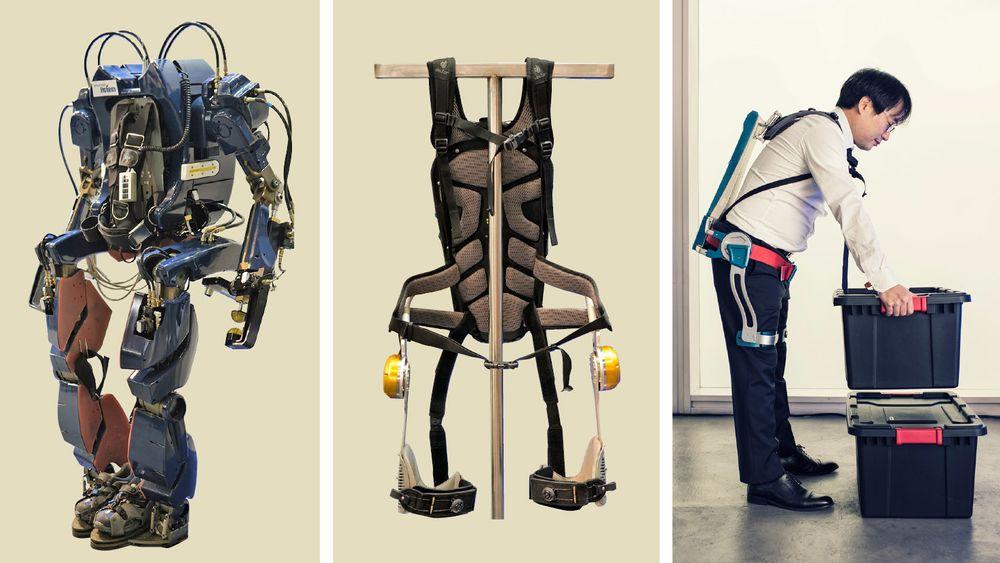 Hyundais første eksoskjelett (til venstre) ble presentert i 2016, og var inspirert av superhelten Iron Man. Det kan løfte 80 kg, men veier selv 120 kg. Det var ment å brukes til eldre med gåproblemer, men ble for uhåndterlig og tungt. I midten og til høyre er det nye Hyundai Waist EXoskjeletton (H-WEX), som kan løfte opptil 20 kg, men selv veier under 3 kg. Det består av et skjelett, sensorer, aktuatorer og et batteri. Det understøtter knær og hofter, og er utviklet for industriarbeidere som foretar mange like bevegelser.