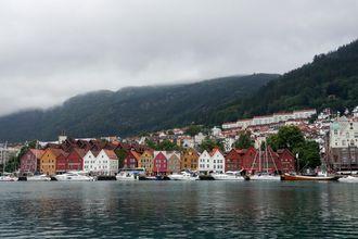 Utsikt mot Bryggen, Bergen sentrum.
