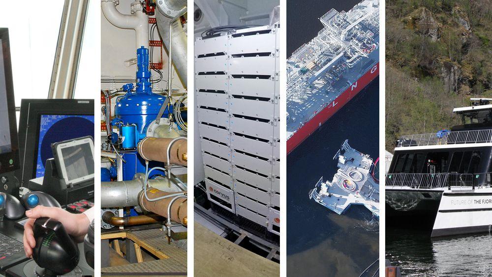 Corvus, Autocrossing, Connect LNG, Future of the fjords og Optimarin er de nominerte til TU Maritims teknologipris. Foto: Tore Stensvold/NCE/Connect LNG. Collage